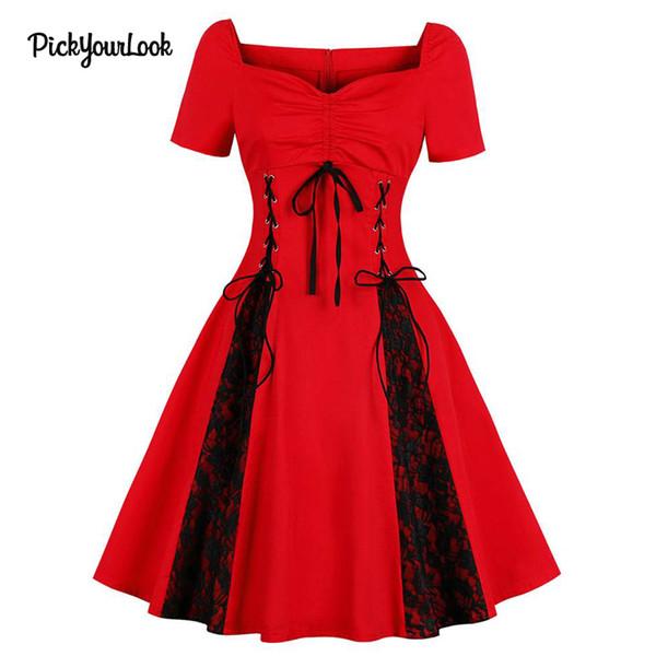 Pickyourlook lace dress plissado midi do partido do vintage rockabilly dress ruched vestidos gótico túnica vestidos hepburn plus size