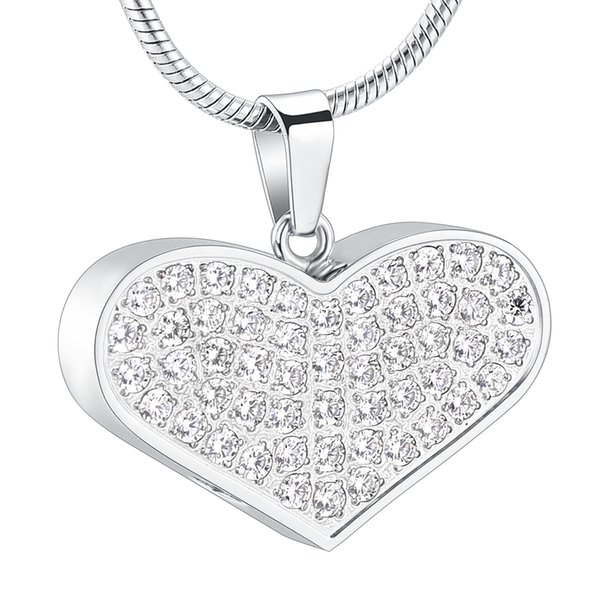 ZZL169 Crystals Inlay Heart Cremation Pendant Memorial URN Necklace Hold Loved Ones Ashes Safe for Human/ Pets