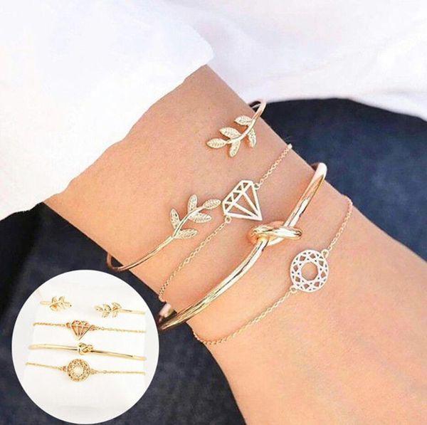 4 pezzi / set donne moda nodo nodo semplice regolabile bracciale aperto gioielli braccialetto d'oro
