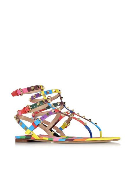 ZK sapatos de verão das mulheres sandálias rebites confortáveis apartamentos sandálias sapatos de festa de casamento tamanho grande da UE 34 a 45