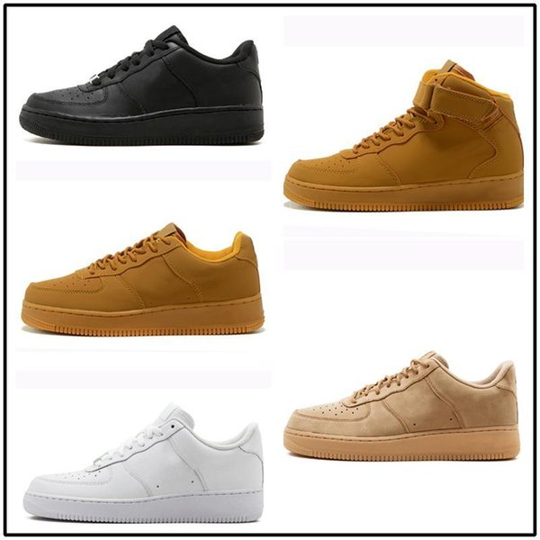 forças brancas1 Dunk Homens Mulheres Casual ar Sports SkateboardingCorrendo High Low Cut trigo Brown Trainers Sneakers 36-45 kj1450