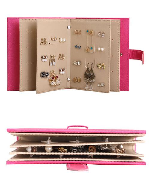 PU En Cuir Maquillage Organisateurs Portable Mode Femmes Boucles D'oreilles Collection Collier Bijoux Livre Display Box Organizer Accessoires En Gros