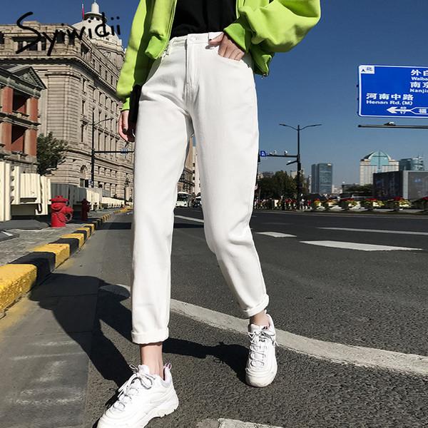 100% algodão Jeans Branca para as Mulheres cintura alta Harem Mom Jeans Primavera de 2019 nova plus size mulheres negras calças jeans azul bege