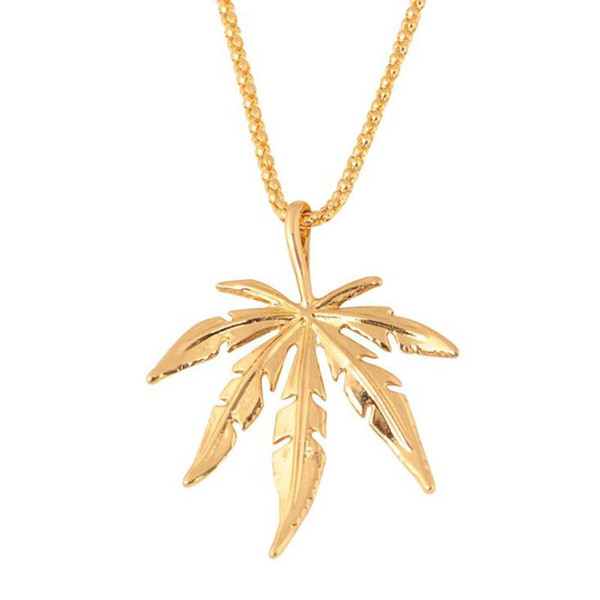 Fashion Gold Silver Maple Leaves Unisex Pendant Necklaces For Women Men 2019 Hot Sale Hip Hop Plated Jewelry Necklaces