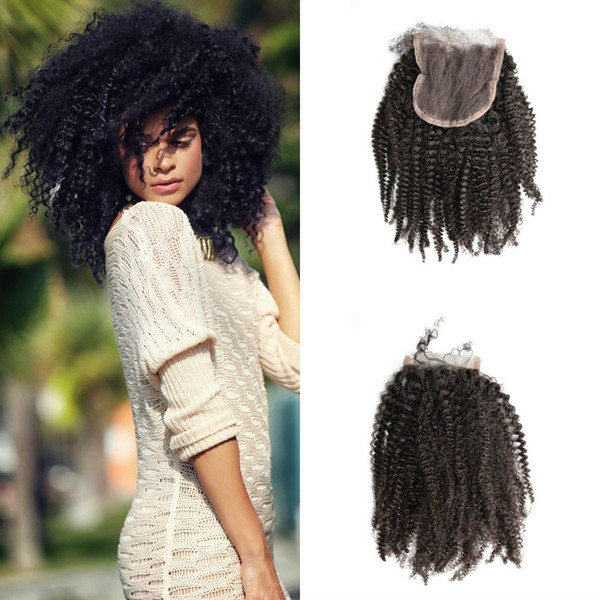 Beautiful Style 4x4 Lace Closure Afro Kinky Curly Free Middle Part Hot Sale For Black Women No Tangle No Shedding LaurieJ Hair