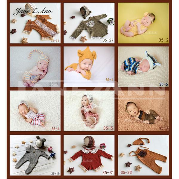 Jane Z Ann neugeborene Baby-Fotografie Props Häkelarbeit-Stirnband-Hut + Outfit 2ST Fotografia Zubehör Studio Shoots Foto PropMX190917