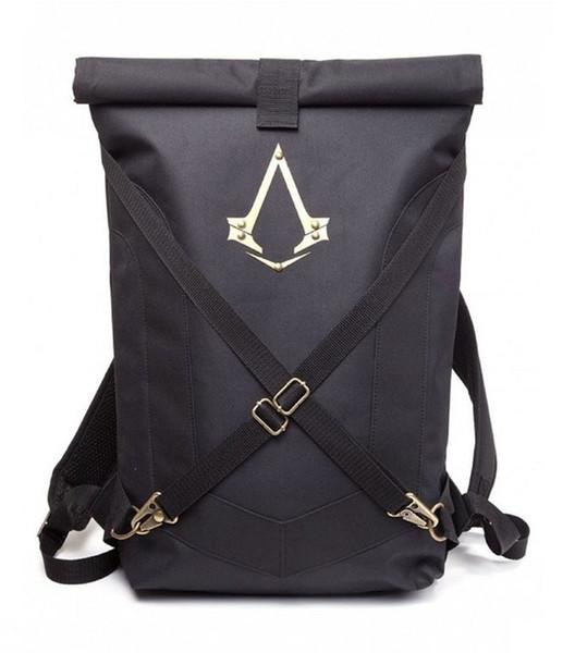 Syndicate Logo Sac à dos plié noir Nouveau sac à main Assassins Creed Sac à dos noir Sac à dos universel pour hommes et femmes