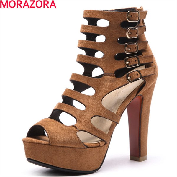 MORAZORA 2018 new summer party peep toe women ankle boots unique buckle comfortable boots big size 34-43