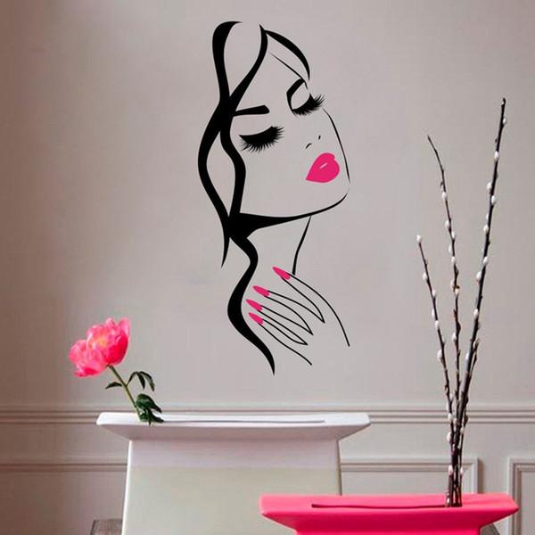 Adesivo de parede Salão de beleza Manicure Nail Salon Mão menina rosto adesivo Home Decor cabeleireiro penteado adesivo de parede