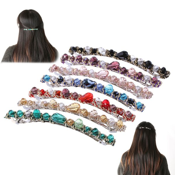 Fashion Women Korean Style Crystal Rhinestone Barrette Hairpin Headwear Hair Clip Accessories C19010501