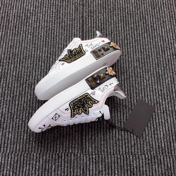 Лучшее качество туз вышитые белый дракон подарок кроссовки из натуральной кожи дизайнерская обувь роскошные мужские женские Повседневная обувь hc18111705R01