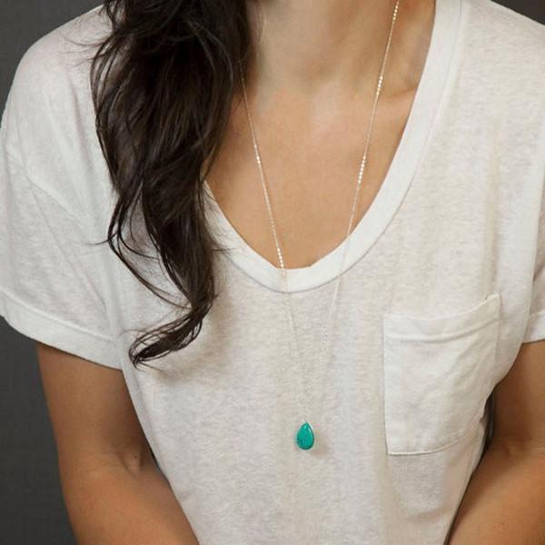 Accessori caldi in Europa e in America collana lunga 70 centimetri con nappe in pietra verde e gioielli da donna delicati