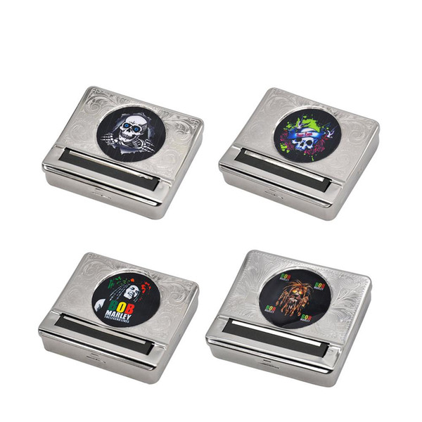 Multi-Pattern Silver Metal Automatic Rolling Machine Box Case Cigarette Tobacco Roller For 70MM Papers Cigarette Rolling Cone Paper Holder