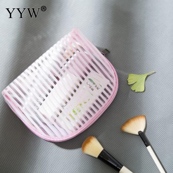 2019 New Fashion Mini Medium Size Clear Makeup Bag Pink Black Make Up Tote Handbags Case White for Cosmetic Brush Lipstick Zip