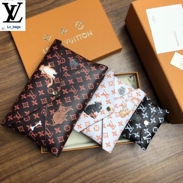 best selling M63885 Pochette Kirigami Three-piece Cat Clutch Long Wallet Chain Wallets Compact Purse Clutches Evening Key