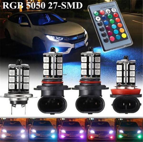 2pcs Car Headlight Fog/Driving Light Car Lighting Bulb-5050 RGBW LED 27SMD 9005/9006/H11/H7+24 keys Remote Control