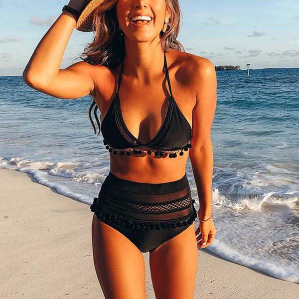 2019 New Bikini Set Sexy Swimsuit Patchwork Swimwear Women Mesh Halter Bathing Suit Open-back Summer Beach Wear