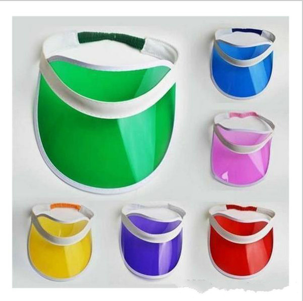 best selling 30pcs lot Neon Sun Visor Peak Cap Clear Plastic Sunvisor Party Hat Festival Fancy Dress Poker Headband