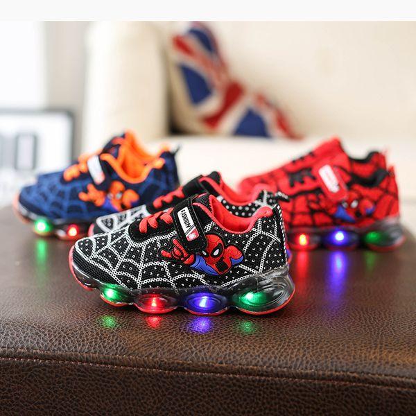 Designer Enfants Chaussures Spiderman LED Bébé Chaussures Anime Motif Enfants Chaussures De Course Infantile En Plein Air Toddler Athlétique Garçons Baskets