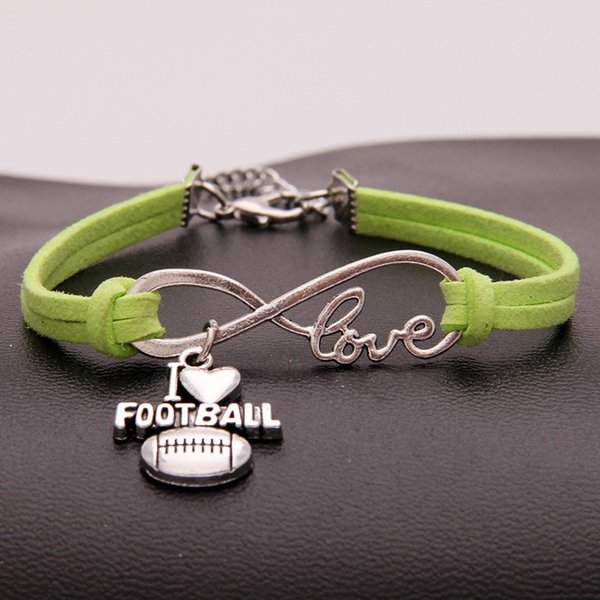 2018 New Infinity Love I Heart Football Charm Bracelets & Bangles Green Leather Suede Cuff Jewelry For Women Men Handmade pulseira masculina