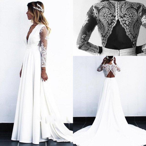 2019 Дешевые пляжные чешские свадебные платья Глубокий V-образным вырезом с длинными иллюзиями свадебное платье Свадебные платья vestido novia robe de mariée
