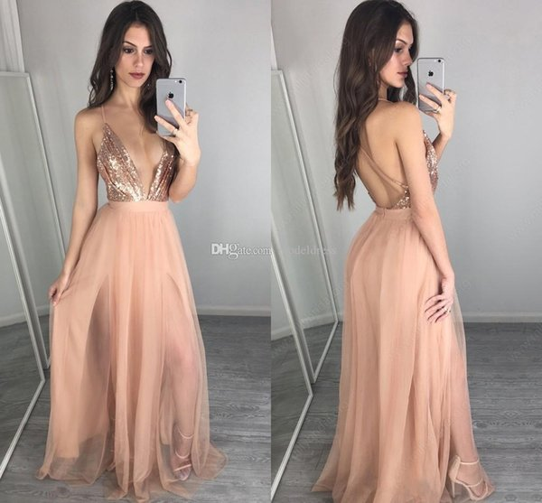 Rose Gold Sequin Split Prom Dresses 2018 Deep V Neck Pleats Open Back High Slit Long Sexy Evening Party Pageant Gowns Cheap Custom
