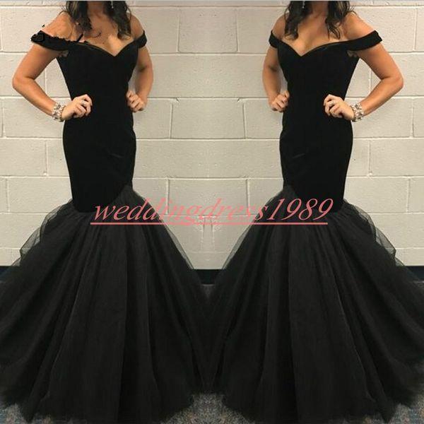Elegance Off Shoulder Velvet Evening Dresses 2019 Mermaid Plus Size African Formal Pageant Party Dress Prom Juniors Gowns Vestido de noche
