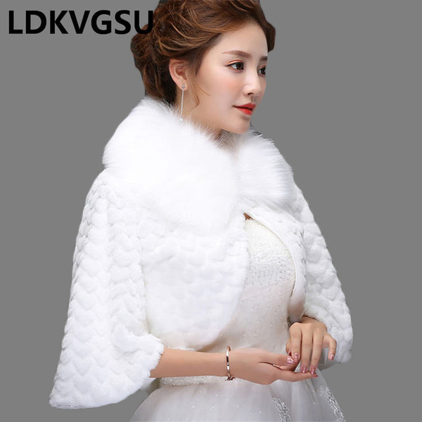 2018 New Bride Shawl Jacket Autumn Winter Wedding Dress Warm Wool Shawl Cloak Women White Short Faux Fur Coat Is1021