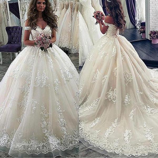 2020 vestidos de casamento Lace Applique Ball vestido fora do ombro do Marfim Princesa nupcial do casamento Vestidos feitos sob encomenda vestidos de noiva Vestido de noiva