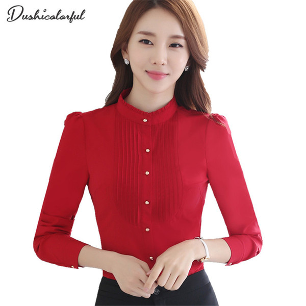 Dushicolorful Spring New women standing collar tops and blouses formal professional work wear plus size modis white red blouse