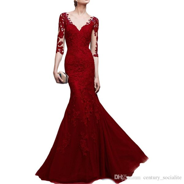 Hot sale Lace Mermaid Evening Dresses With Sleeves Sweep Train Covered Button Illusion Sexy Prom Gown Party Dresses