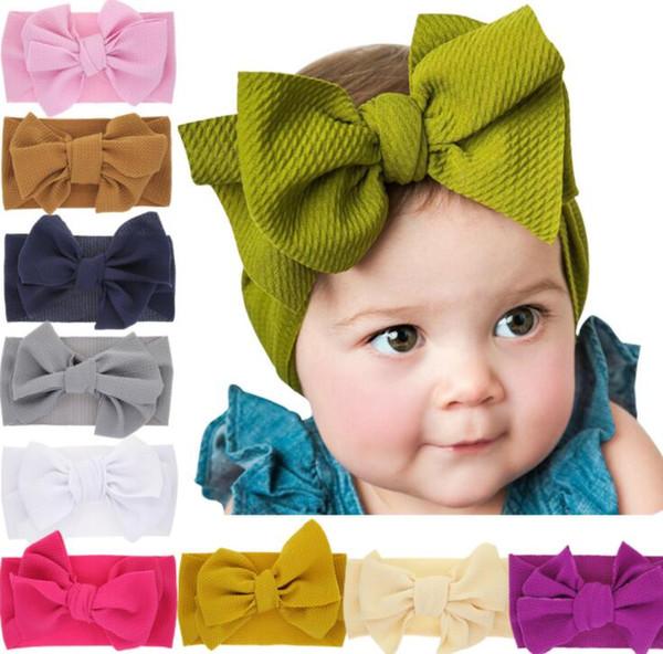 best selling Baby Knot Headband Girls big bow headbands Elastic Bowknot hairbands Turban Solid Headwear Head Wrap Hair Band Accessories 12styles GGA2009