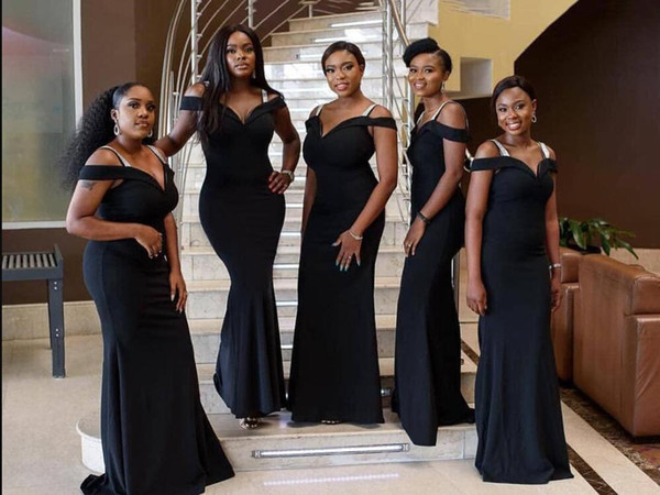 Nigerian African Black Mermaid Bridesmaid Dresses Off Shoulders V Neck Floor Length Maid of Honor Gowns Wedding Guest Party Wear
