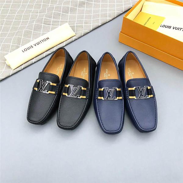 Лучшее Качество Роскошные Бренды Личность Мужская Кожаная Обувь Повседневная Обувь Оригинальная Коробка Повседневная Обувь Из Натуральной Кожи Носить Хорошо Синий