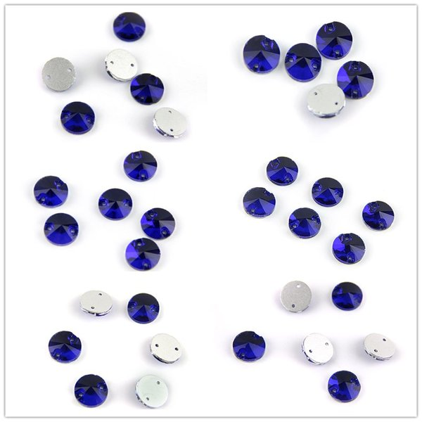 Various Sizes Sapphire Round And Rivoli Sew On Stone Rhinestone Sew On Rhinestone Glass Crystal Flatback For Sewing Strass Dress Clothing