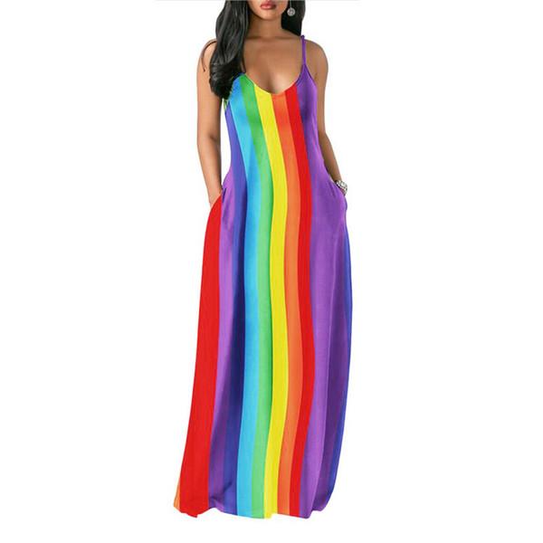 Rainbow Striped Women Maxi Dresses 2019 Designer Color-changing Long Dress Sleeveless Low Cut Strap Tank Skirt Women Summer dresses C62707
