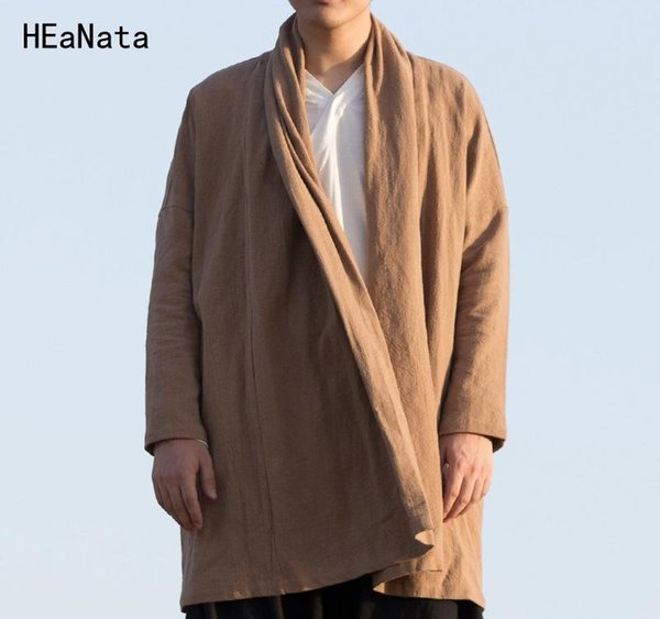 Men High Quality Cotton Linen Long Jacket China Style Kongfu Coat Male Loose Kimono Cardigan Overcoat Trench Coat Jacket78
