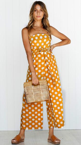 Mulheres Roupa na moda Spaghetti Strap Bolinhas Jumpsuit Playsuit com bolsos Summer Fashion Wide-perna da calça com cinto Roupa Plus Size