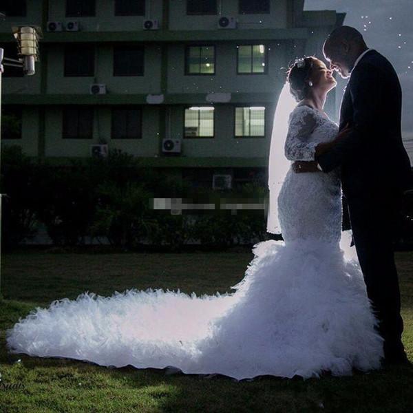 Vestidos de casamento Sereia Bateau Pescoço Mangas Compridas Applique Beading Vestidos 2019 Novas Mulheres Africanas Árabes Preto Vestidos de Casamento Nupcial Vestidos