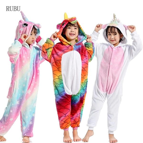 Kigurumi Onesie Boys Girls Unicorn Pajamas Winter Kids Costume Anime Panda Cosplay Jumpsuit Children Sleepwear Blanket Sleepers J190520
