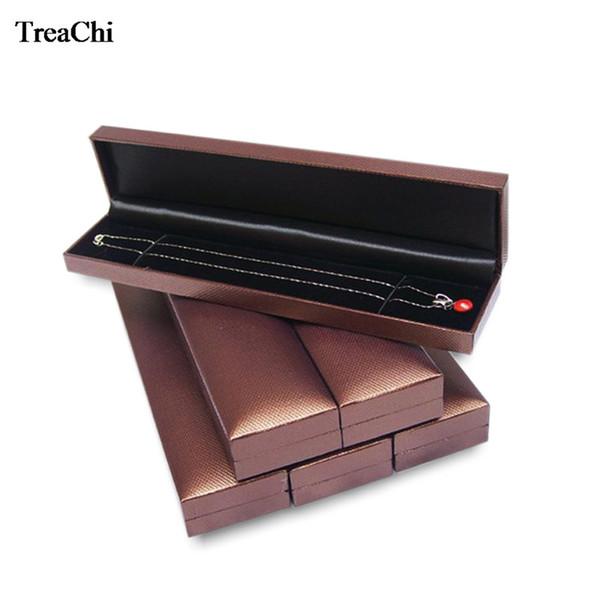 18Pcs/Lot Elegant Necklace Jewelry Display Case Brown Pendant Bead Chain Bracelet Anklet Storage Organizer Gift Box 22.8*5*2.8cm