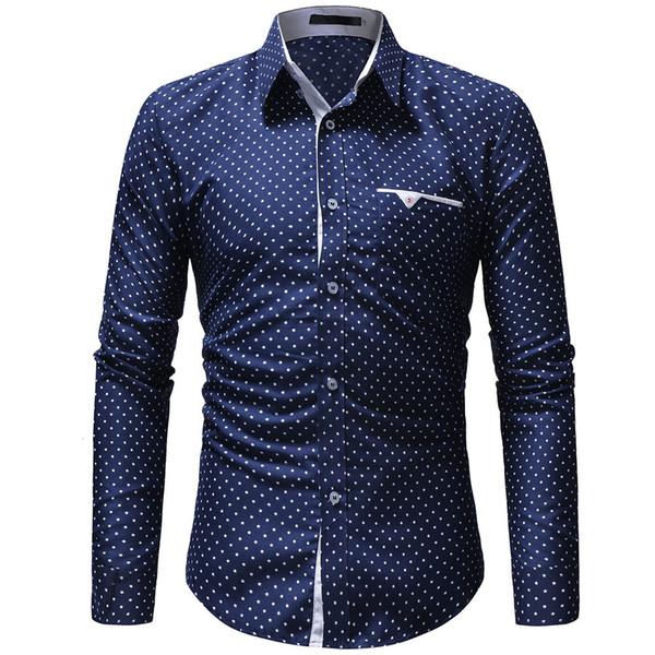 les hommes diesel jeans automne hommes casual robe une pièce polka dot mince chemise à manches longues chemise homme imprimé bleu et blanc