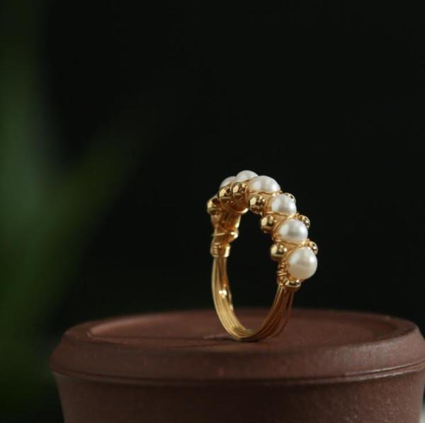 2019 Маленькие Жемчужные Кольца Изящных Ювелирных Изделий Палец Кольцо 14 К Позолоченные Обручальные Кольца для Женщин Мода Петух Кольца Наборы