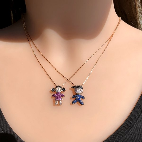 Small Lovely Boy Girl Pendant Necklaces Full Paved Red Blue Cubic Zirconia Gold Color chain Cute Kid Choker Necklace Women Gift