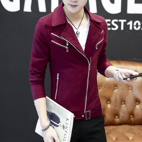 Chain Belt 2019 Fashion Collar Jacket Men Denim Fear of God Cotton Casual Solid Slim Pockets Black Red Streetwear Jackets Coats