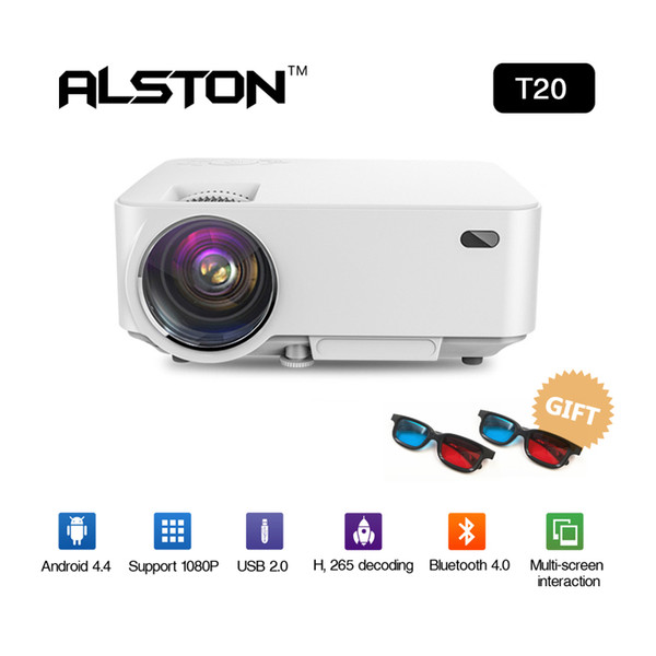 ALSTON Mini Projector T20 Smart Android System HD LED Projector WiFi Bluetooth Home cinema