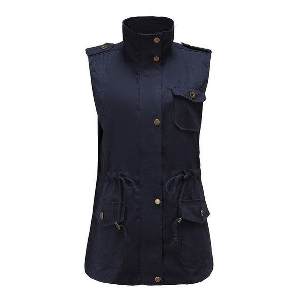 Warm Jacket Winter Sleeveless Coats Outwear Women Stand Collar Pocket Drawstring Zip Vest Gilet Coat Jackets Casual Street