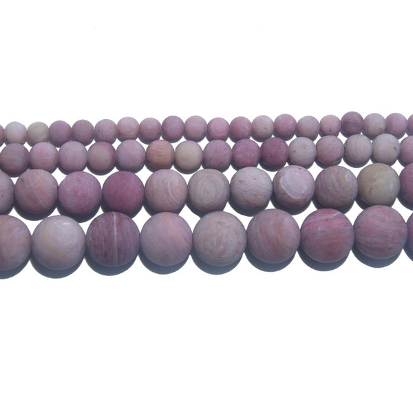 Dull Polish Natural Stone Pink Rhodochrosite Round Beads 4 6 8 10 MM Pick Size For Jewelry Making DIY Bracelet Necklace Material