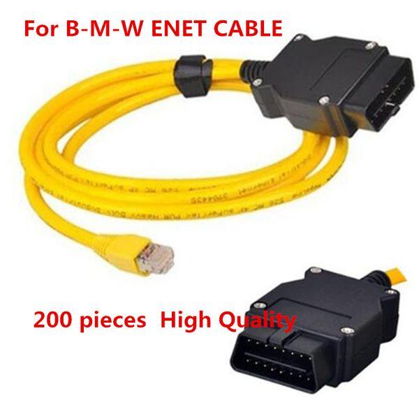 200PCS DHL SERBEST İçin BMW ENET e-sys Ethernet ICOM OBD2 16pin bağlantısı Kablo F-Serisi Esys 3.23.4 V50.3 Veri Kablosu için Kodlama