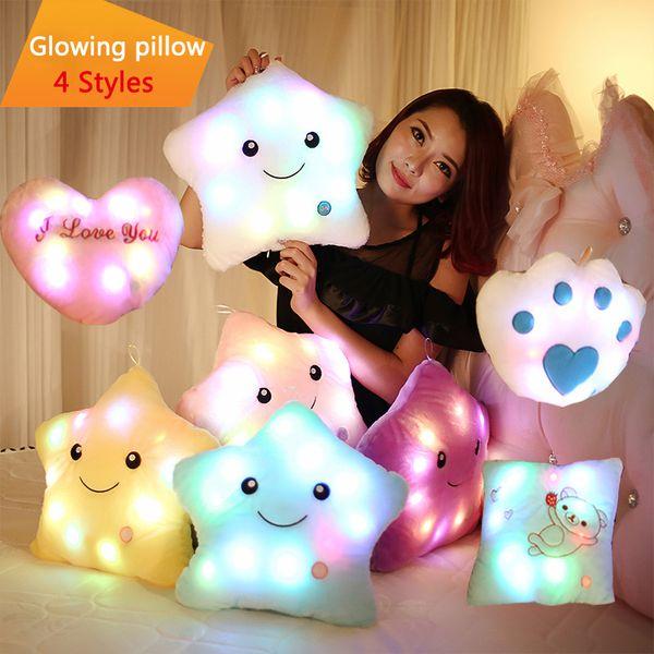 Luminous Glowing Pillow Star Heart Bear Paw Led Soft Stuffed Plush Pillow Night Light Cushion Toys Christmas birthday Valentine's Day gifts